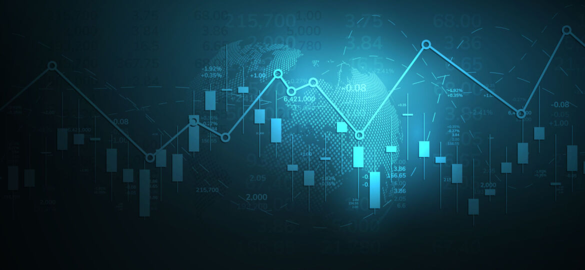 Stock market graph or forex trading chart for business and financial concepts, reports and investment on dark background . Vector illustration